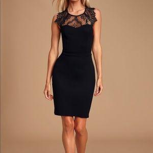 Lulu's Black Lace Backless Bodycon Mini Dress